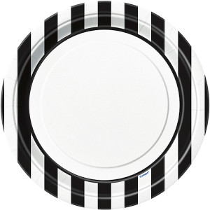 Black-and-White-Stripes-23cm-Paper-Plate