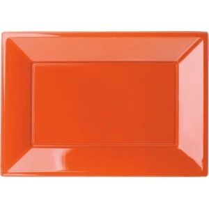 Orange-Rectangular-Plastic-Serving-Tray-9-x-13-Inches-Pack-of-3