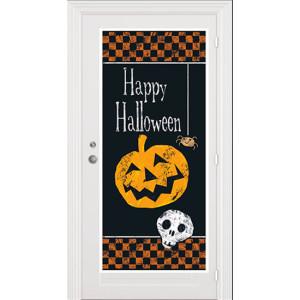 halloween-checkered-plastic-door-poster
