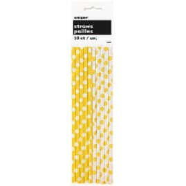sunflower-yellow-decorative-dots-paper-straws-product-image-300x300