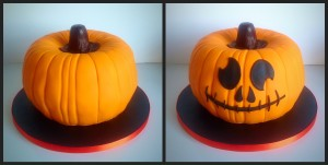 Back and front views of the pumpkin piñata cake