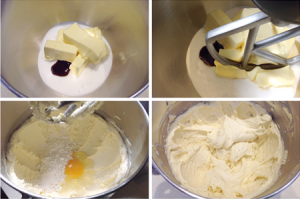 Mixing a delicious vanilla sponge cake mix.