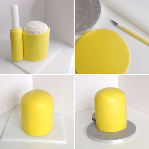 Step-by-step instructions on how to apply a coat of yellow fondant icing.