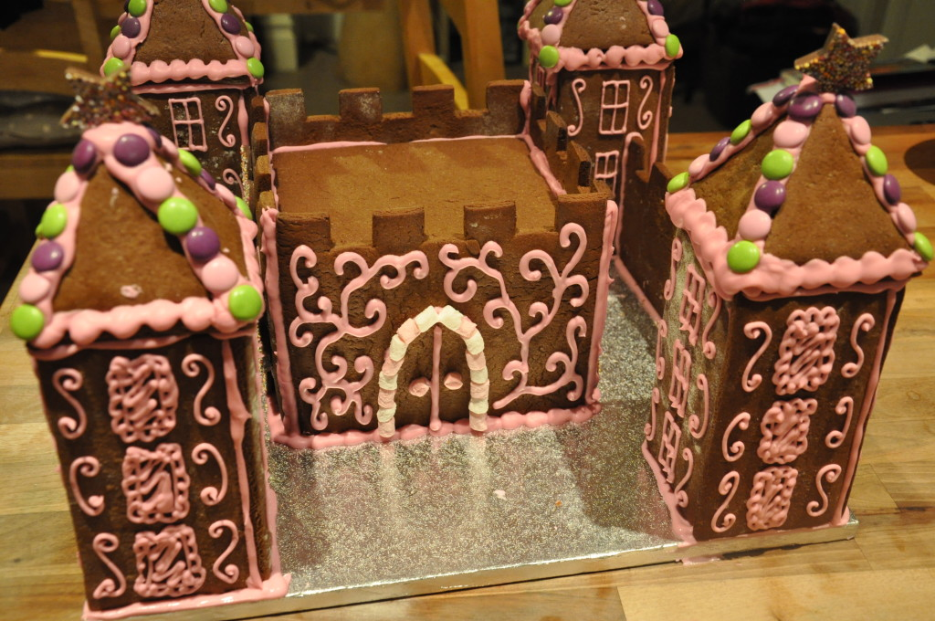 The gingerbread castle, rapidly taking shape!
