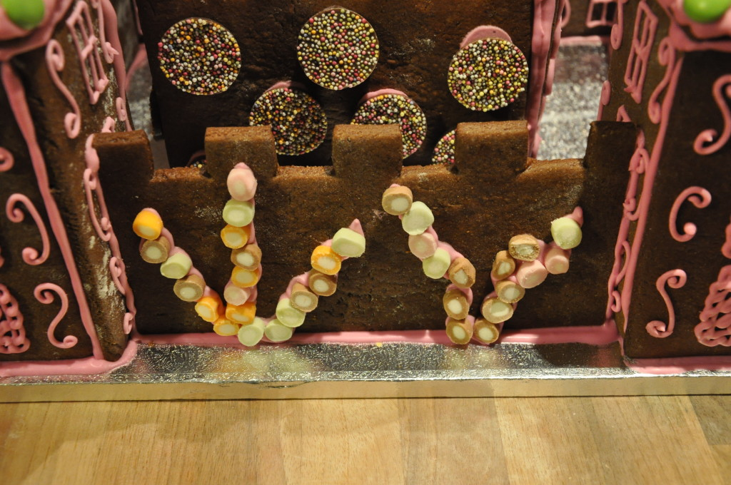 More dolly mixture sweets stuck to the gingerbread castle