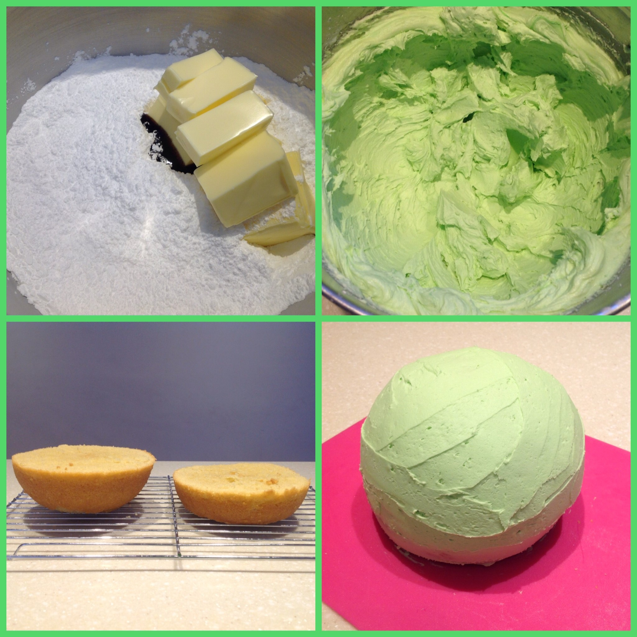 Cream icing sugar, butter and vanilla extract, then add water and green food colouring