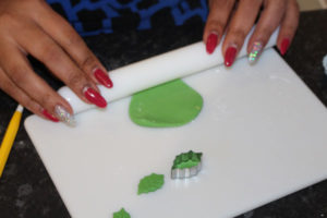 Rolling Out Green Fondant Icing
