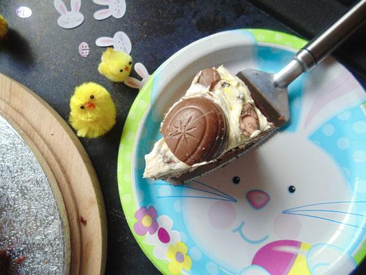 A slice of Smashed Creme Egg Cake