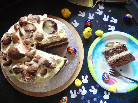 Smashed Creme Egg Cake