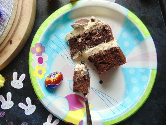 Eating Smashed Cream Egg Cake