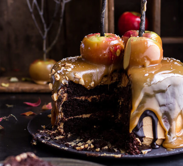 Salted Caramel Apple Snickers Cake for Halloween