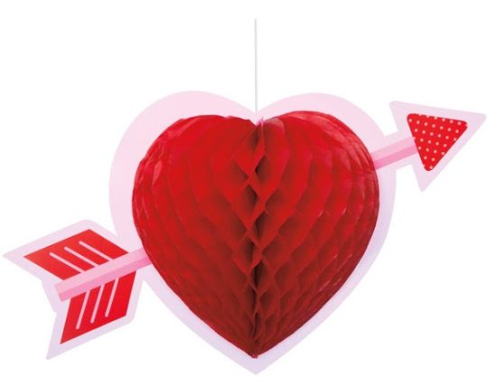 Heart Honeycomb Hanging Decoration by Partyrama