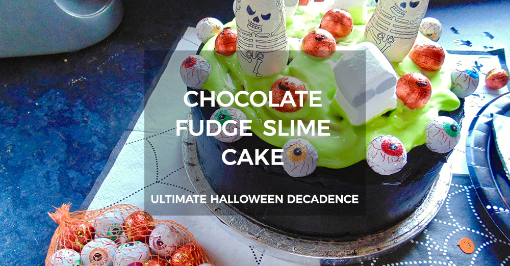 Halloween Chocolate Fudge Slime Cake Recipe