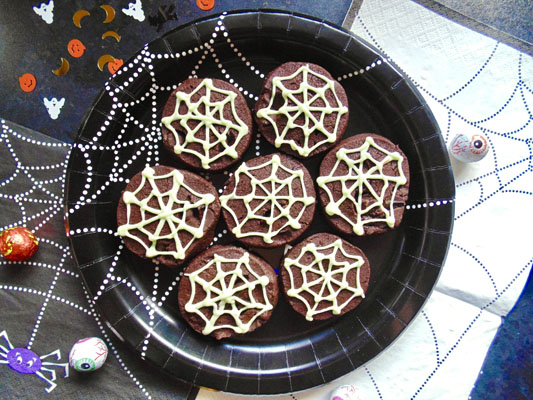 Double Chocolate Spiderweb Shortbread Biscuits Recipe