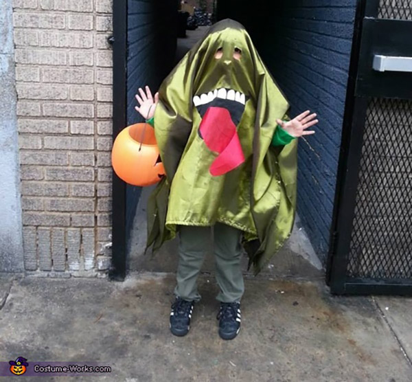 A child wearing a Slimer from Ghostbusters Halloween costume